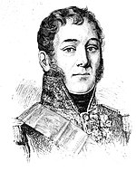 Black and white drawing shows a clean-shaven man with long sideburns. He wears a high-collared military uniform with many awards.