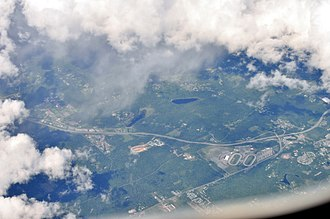 New York State Route 17B - NY 17B (near bottom of photo) joins NY 17 near the Monticello Raceway at right.