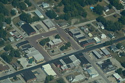 Aerial view of Maysville, Missouri