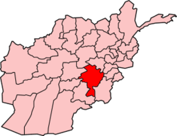 Map of Afghanistan with Ghazni highlighted