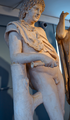 After Praxiteles (fl c360-340 BC) - Resting Satyr, plaster replica, front right knees upward, Ashmolean Museum, Oxford, May 2013 (8730128368).png