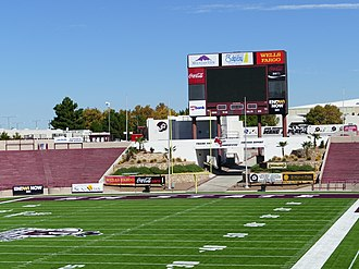 Aggie Memorial Stadium - Image: Aggie Memorial Stadium North Side Video Board 01