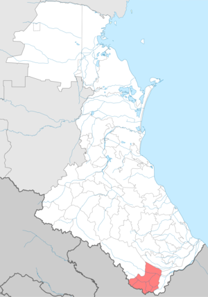 Ахтынский район на карте