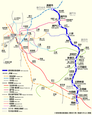 Map of Aichi loop line and other nearby lines