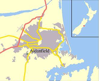 Aidanfield - Location of Aidanfield within Christchurch