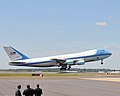 Air Force One takes off from the North Carolina Air National Guard base at Charlotte Douglas International Airport in Charlotte, N.C., Aug. 26, 2014, as President Barack Obama leaves the city after delivering 140826-Z-FY745-159.jpg