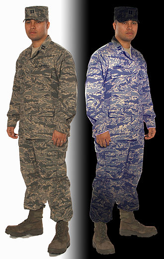Airman Battle Uniform - The ABU showing effect of washing with detergent containing optical brighteners.