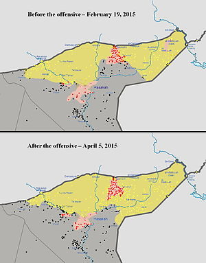 Eastern al-Hasakah offensive - A map of the territorial changes during the Al-Hasakah offensive