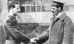 Martin O'Meara - O'Meara (right) meeting fellow VC recipient, Lt. Albert Jacka, following the fighting at Pozières.