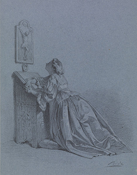 File:Alexandre Bida - Interior - Woman Kneeling at Prie-dieu - Walters 371415.jpg