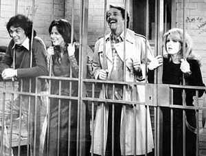 Judith Kahan - L-R: Michael Keaton, Judith Kahan, Richard Crenna, and Bernadette Peters in TV series All's Fair (1977)