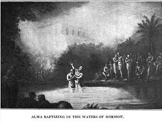 "Alma the Elder - The illustration called ""Alma Baptizing in the Waters of Mormon"" was published in the book called Cities in the Sun, published by Elizabeth Rachel Cannon in 1910."