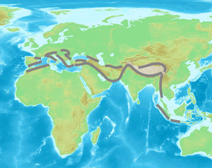 Alpide belt - Approximate extent of the Alpide orogenic system