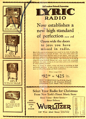 Wurlitzer - American Mohawk Lyric Radio as Mfd. by Wurlitzer circa 1920s
