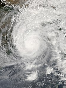 Satellite image of Amphan showing its curved rainbands