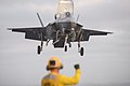 An F-35B Lightning II Joint Strike Fighter takes off from the USS Essex (LHD 2) (35882130874).jpg