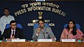 Anand Sharma briefing the media on Cabinet decision on FDI, in New Delhi. The Secretary, Department of Commerce, Shri P.K. Chaudhary and the Principal Director General (M&C), Press Information Bureau.jpg
