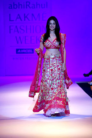Lehenga - Indian actress Anjana Sukhani showcases a bridal lehenga with Gota patti embroidery, which is used extensively in South Asian weddings