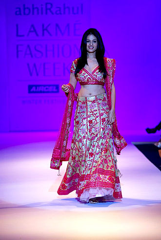 Lehenga - Indian actress Anjana Sukhani showcases a bridal lehenga with Gota patti embroidery, which is used extensively in weddings across the Indian subcontinent.