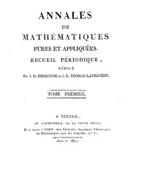 Annales de Gergonne - Image: Annales Gergonne
