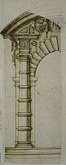 Design for a door frame with round arch