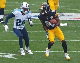 Antonio Brown - Brown being pursued by cornerback Coty Sensabaugh in a 2013 game against the Tennessee Titans