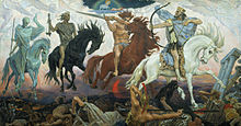 Colour painting of the four horsemen of apocalypse (1887) by Russian painter Viktor Vasnetsov.  From left to right: A skeletal rider holding a staff on a thin blue-green horse; A green-brown rider holding weighing-scales on black horse; A rider in a loin-cloth holding a sword on a red-brown horse; A rider with a crown and rich clothing holding a bow, with knocked arrow, on a white horse.