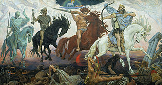 Famine - Four Horsemen of the Apocalypse, an 1887 painting by Viktor Vasnetsov. Depicted from left to right are Death, Famine, War, and Conquest. The Lamb is visible at the top.