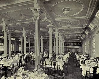 SS Arcadian - The dining saloon of Arcadian in 1913 after her conversion to a cruise ship