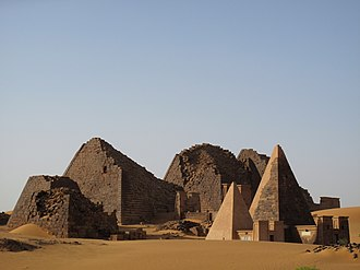 Meroë - Wide view of Nubian Pyramids