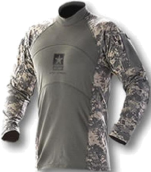 Army Combat Shirt - An early model Army Combat Shirt in the Universal Camouflage Pattern (UCP). This particular model was worn primarily in 2007 and 2008; later models were made without the army logo on the chest.