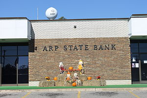 Arp, Texas - Arp State Bank at the Thanksgiving season