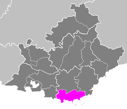 Location of Toulon in Provence-Alpes-Côte d'Azur