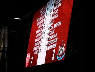 2012–13 Arsenal F.C. season - The Emirates Stadium scoreboard after the 7–3 victory over Newcastle United on 29 December 2012