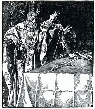 Sir Ector - Sir Kay showeth the mystic sword unto Sir Ector, by Howard Pyle from The Story of King Arthur and His Knights. (1903)