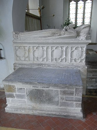 Arthur Bassett (died 1586) - Small chest tomb (foreground) in Atherington Church, Devon, of Sir Arthur Basset (1541-1586) of Umberleigh and his wife Eleanor Chichester