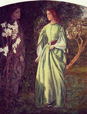 """Aurora Leigh - Aurora Leigh's Dismissal of Romney (""""The Tryst"""") by Arthur Hughes (circa 1860)"""
