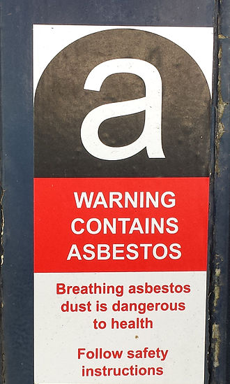 Asbestos and the law - Example of Asbestos Warning Label that must be put on Boilers, Flanges, Pipes, Pumps, Furnaces using Asbestos based Products such as CAF Gaskets, Gland Packings, Insulation, MIllboard etc.