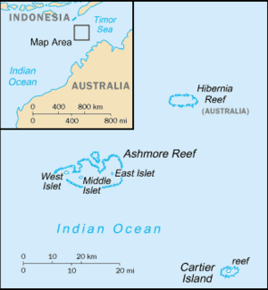 """East Island (Ashmore and Cartier Islands) - A map of Ashmore and Cartier Islands from The World Factbook, with East Island marked as """"East Islet""""."""