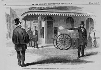 James King of William - Depiction of shooting by Frank Leslie's Illustrated Newspaper, July 19, 1856