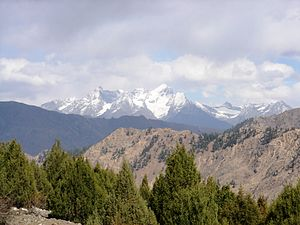 Astore Valley - An unnamed, 5400-metre peak raises jagged, snowclad ramparts above Astore Valley