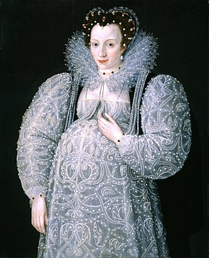 Maternity clothing - A waistless maternity dress fits a pregnant woman in late 16th century Elizabethan England.