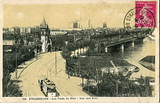 Compagnie des Transports Strasbourgeois - CTS tram on Line 1 crosses the Rhine, early 1920s