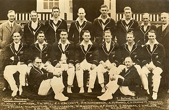 Bill Ponsford - Ponsford (middle row, second from left) with the 1930 Australian team selected to tour England