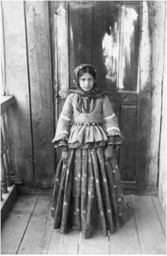 Azerbaijanis - Azerbaijani girl from Shusha in silk national garments.