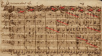 Mass in B minor structure - Autograph of the beginning