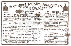 Your Black Muslim Bakery - Image: Bakery Menu