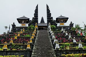 Balinese temple - Stairs and terraces leading to the candi bentar split gate of Pura Besakih.