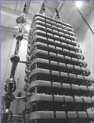 Power electronics - An HVDC thyristor valve tower 16.8 m tall in a hall at Baltic Cable AB in Sweden