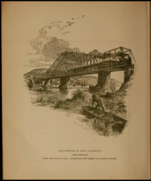 1885 drawing of a rail bridge and train